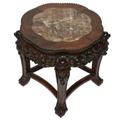 19th Century Chinese Pedestal in Marble and Tropical Wood