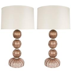 Pair of Mid-Century Modernist Murano Glass Table Lamps in Smoked Amethyst