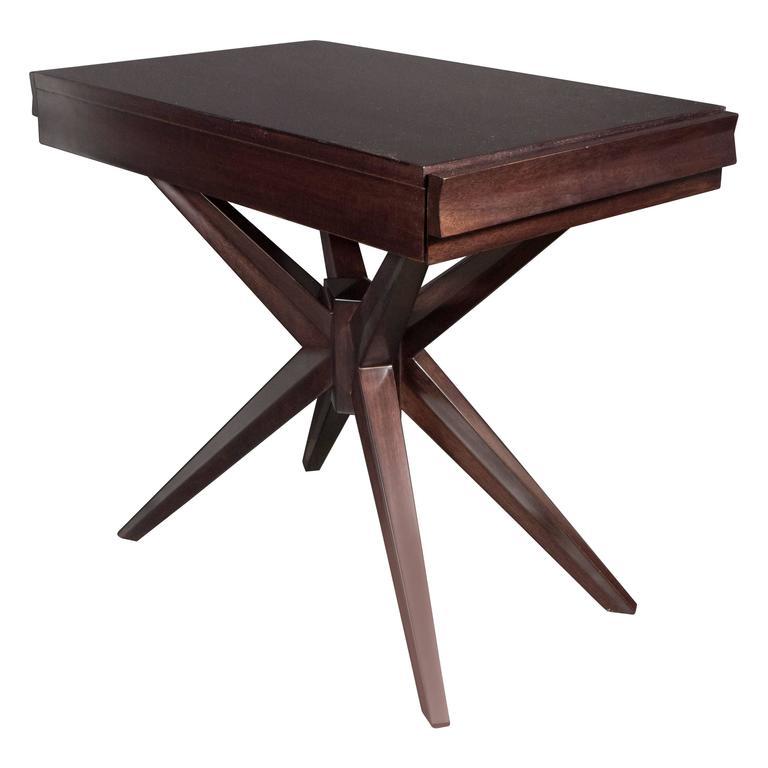 Mid-Century Splayed Leg X-Base Sculptural End Table in Ebonized Walnut