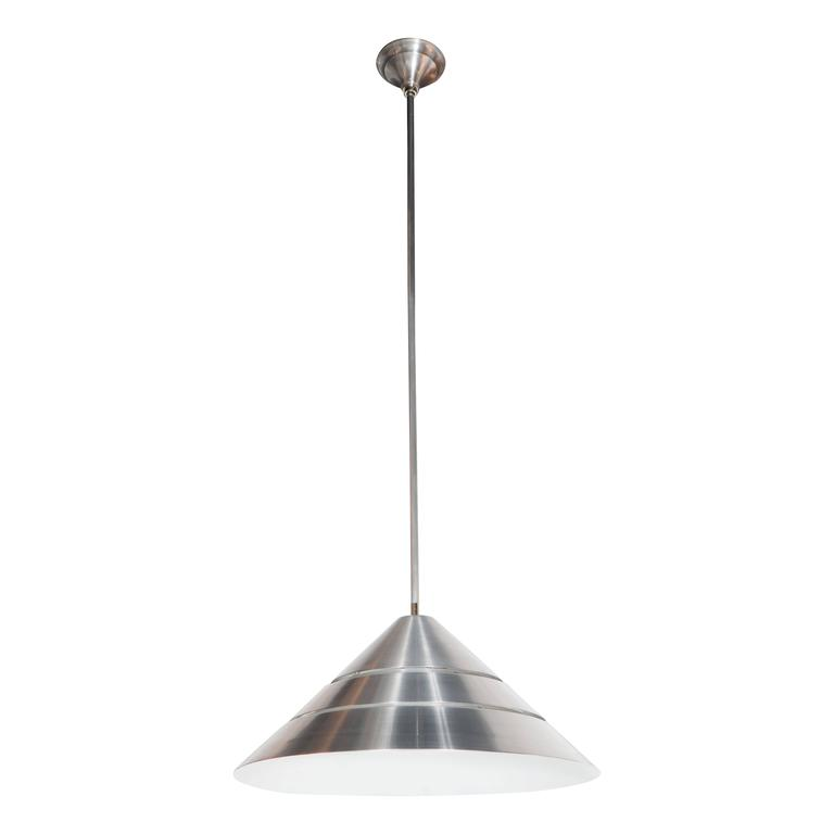 Mid-Century Brushed Aluminum Cone Ceiling Pendant by Hans-Agne Jakobsson