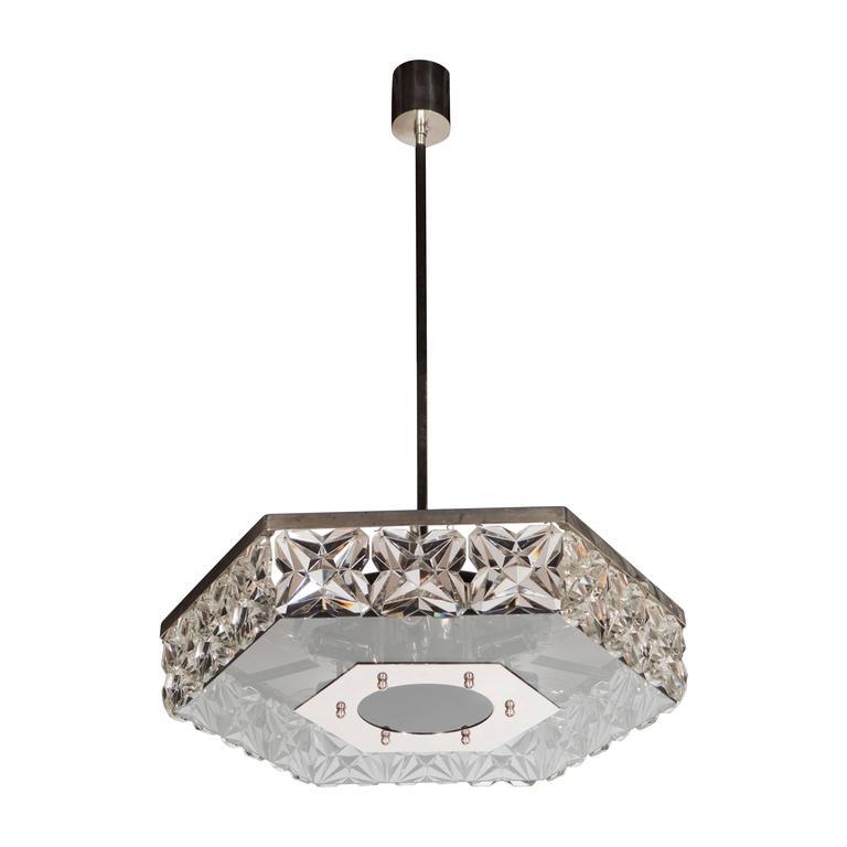 Mid-Century Modernist Faceted Crystal Hexagonal Chandelier by Kinkeldey