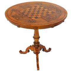 Round Chess Table with Inlays in Exceptional Condition