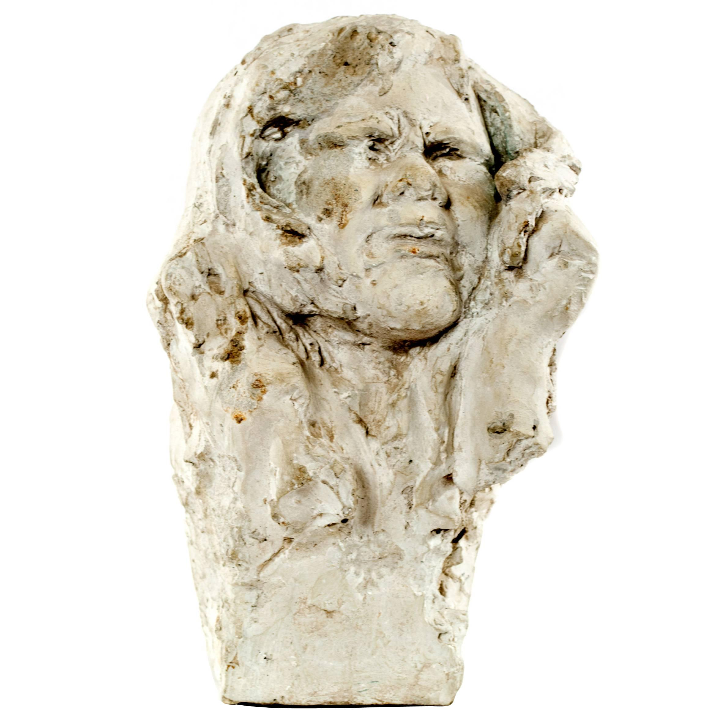 Plaster Study of a Head by Solon Borglum