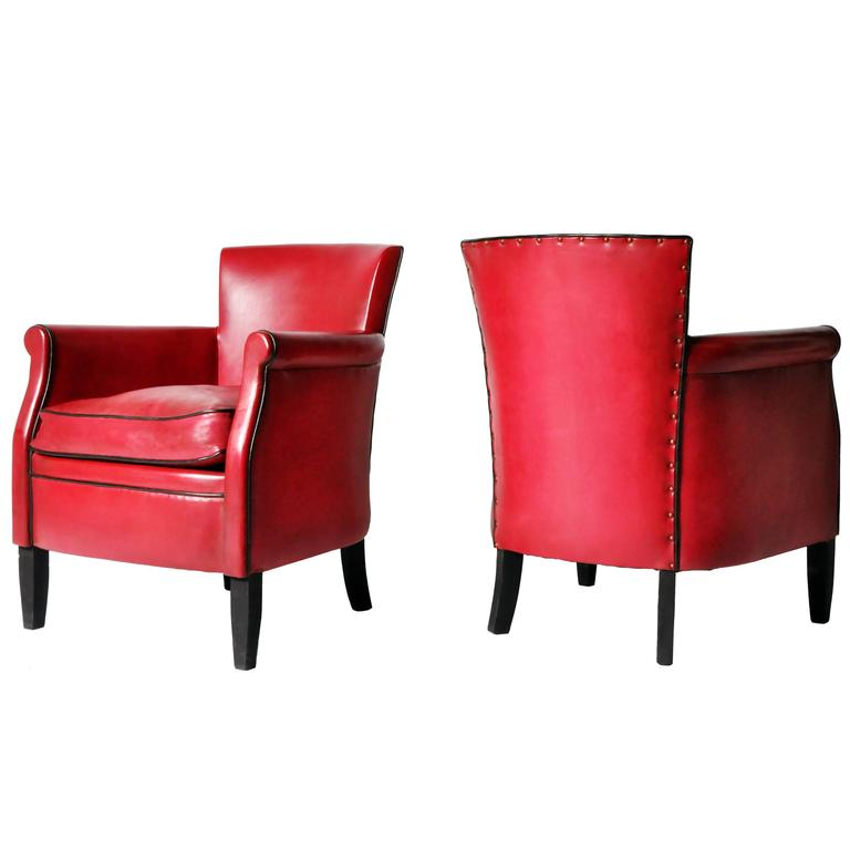 Pair Of Petite Crimson Leather Club Chairs At 1stdibs