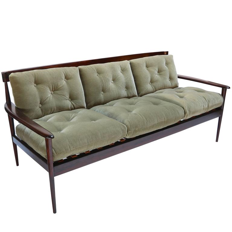 Rino Levi 1960s Brazilian Jacaranda Sofa