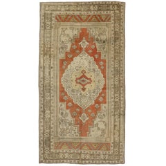 Vintage Turkish Oushak Gallery Rug with Modern Style, Wide Hallway Runner