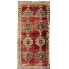 Vintage Turkish Oushak Rug with Modern Style, Gallery Rug, Wide Runner