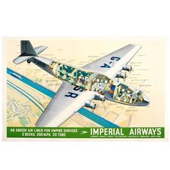 Original 1937 Imperial Airlines Poster, an Ensign Air Liner for Empire Services