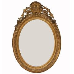 French Mid 19th Century Oval Period Louis-Philippe Giltwood Mirror