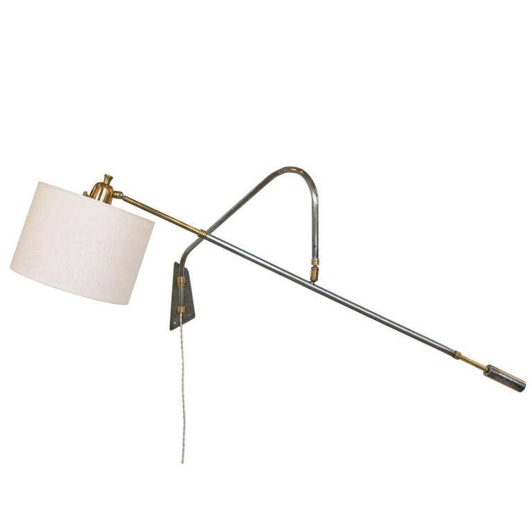Mid Century Reading Lamp: Mid-Century Wall-Mounted Steel And Brass Reading Lamp