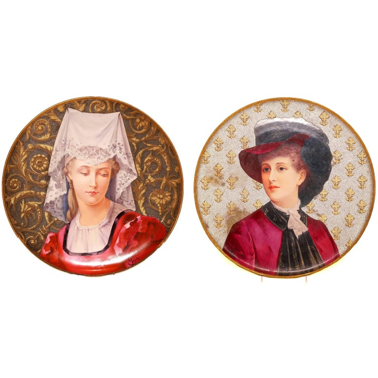 Pair of French Hand-Painted Porcelain Chargers