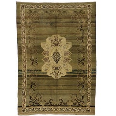 Vintage Turkish Oushak Rug with Russian Dachas Luxe Home Style