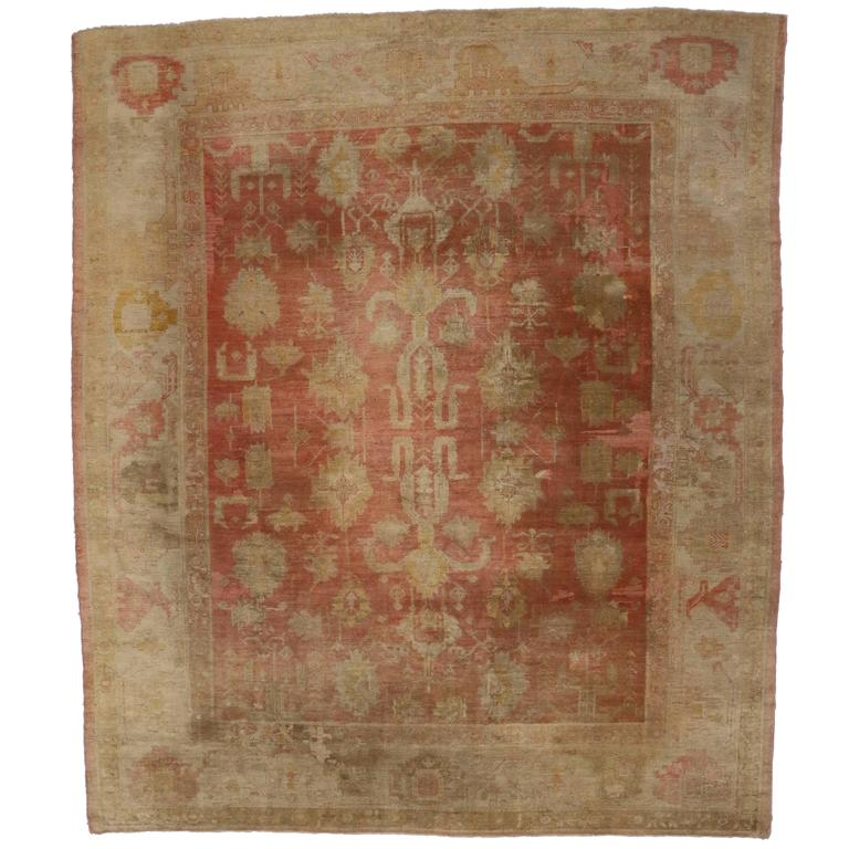 Antique Turkish Oushak Rug With Modern Style For Sale At