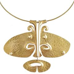 """Tapio Wirkkala 14 kt Gold Pendant-Necklace """"Lehmän Pää,"""" 1971"""