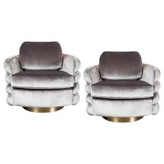Pair of Milo Baughman Tilt and Swivel Chairs in Platinum Velvet with Brass
