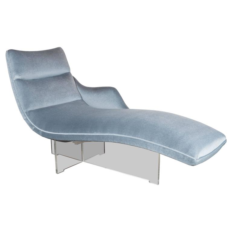 erica chaise longue in gray platinum velvet and lucite. Black Bedroom Furniture Sets. Home Design Ideas