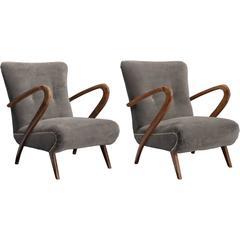 Pair of Velvet Modern Armchairs