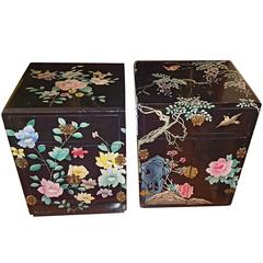 Pair of Nightstands with Floral Decoration