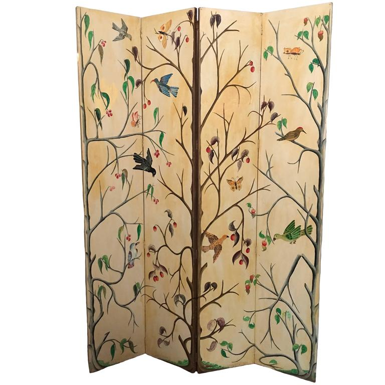 1950s Painted Haitian Folding Screen by Adam Leontus at 1stdibs
