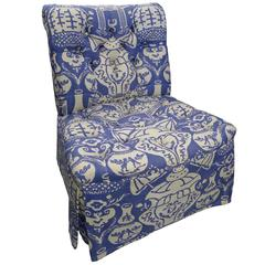 Superieur David Hicks The Vase Blue Upholstered Slipper Chair
