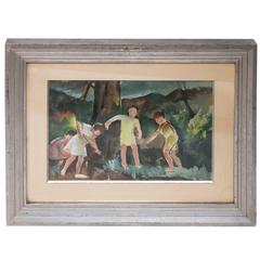 Children Playing by Luigi Corbellini Gouache Framed and Signed