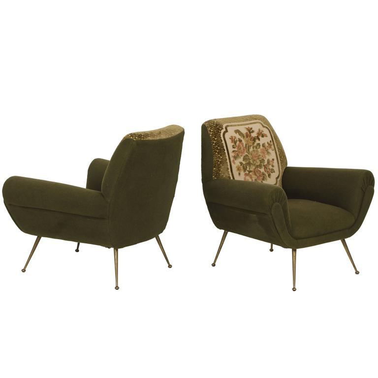 Italian Mid Century Green Lounge Chairs Bronze Gigi Radice Minotti Original  1950 For Sale