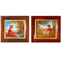 Folk Art Pair of Silk and Wool Pictures of a Brother & Sister, circa 1840