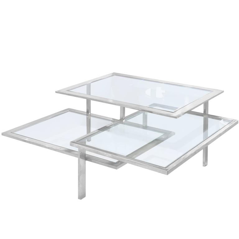 Chic Three Level Architectural Coffee Table In Chrome And Glass For Sale