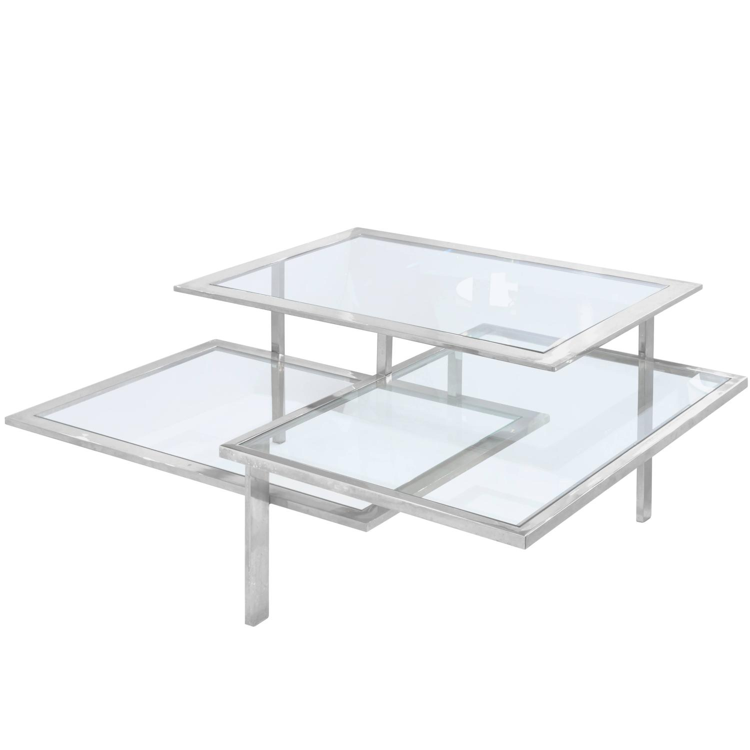 Chic Three Level Architectural Coffee Table in Chrome and Glass at