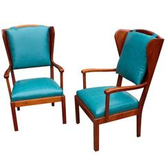 Pair of Swedish Functionalism Wingback Armchairs