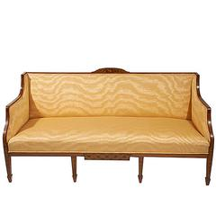 19th Century Satinwood Box Sofa on Six Tapering Legs