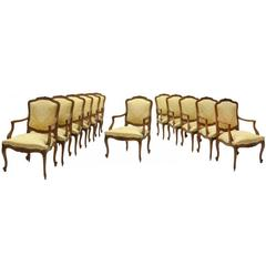 Set of 12 French Louis XV Style Dining Armchairs