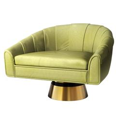 Bogarde Leather and Brass Mid-Century Modern Rotating Armchair