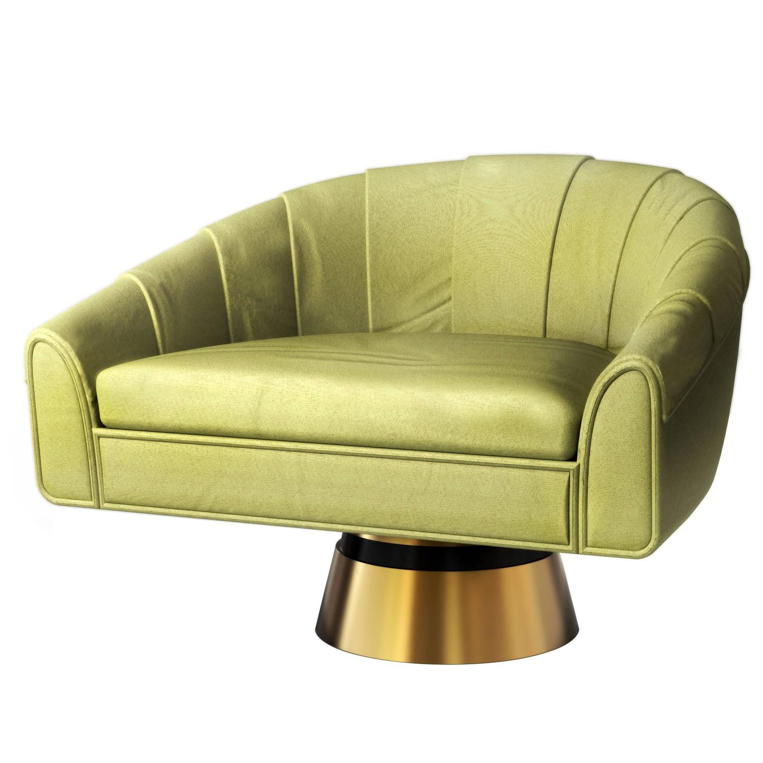 Bogarde Leather And Brass Mid Century Modern Celadon Green Rotating Armchair  For Sale At 1stdibs