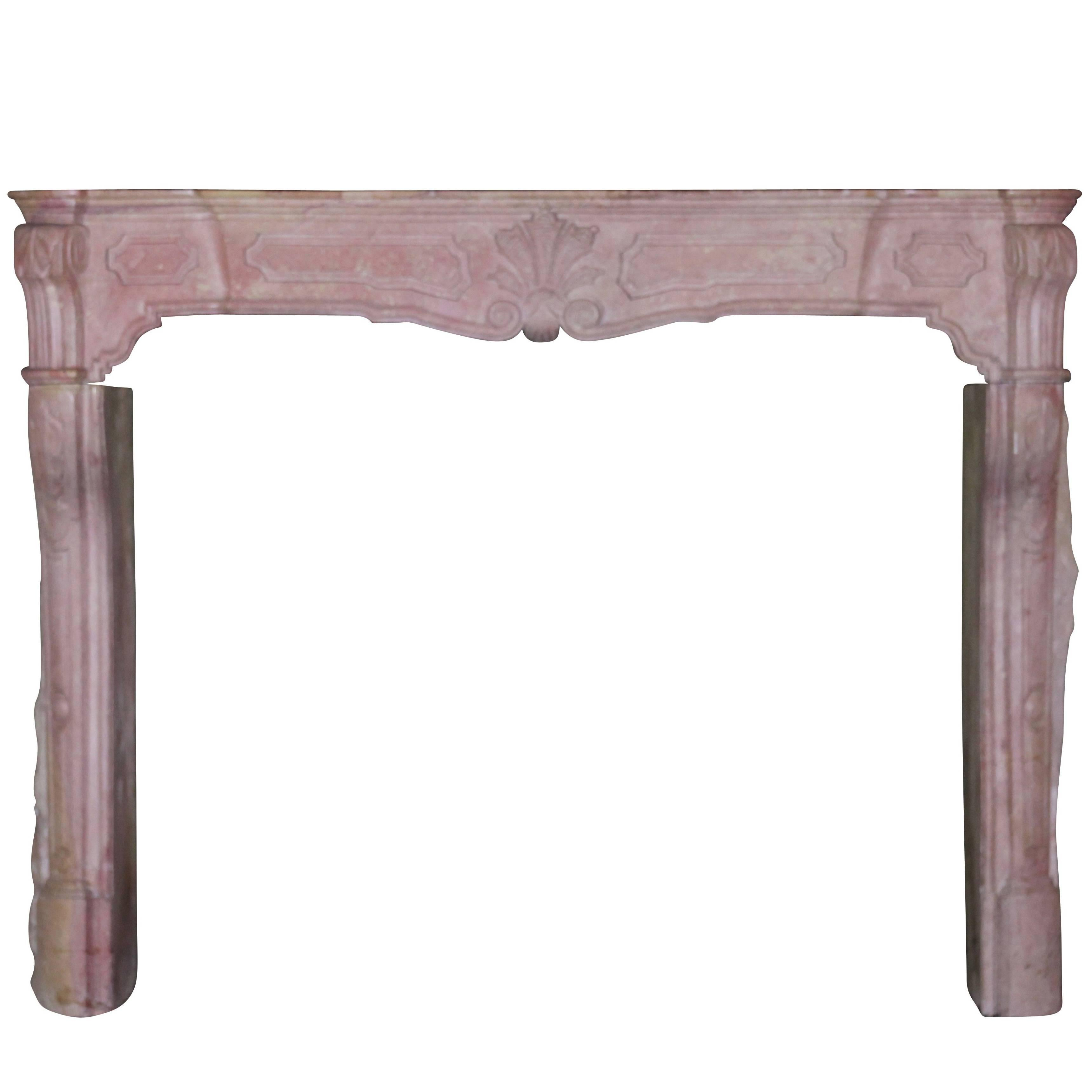 18th Century Original Pink Stone Antique Fireplace Mantle