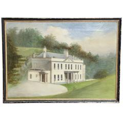 Mid-19th Century Oil on Canvas of an Irish Manor House