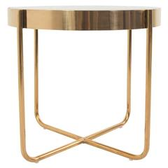 Circular Side Table with Copper Frame