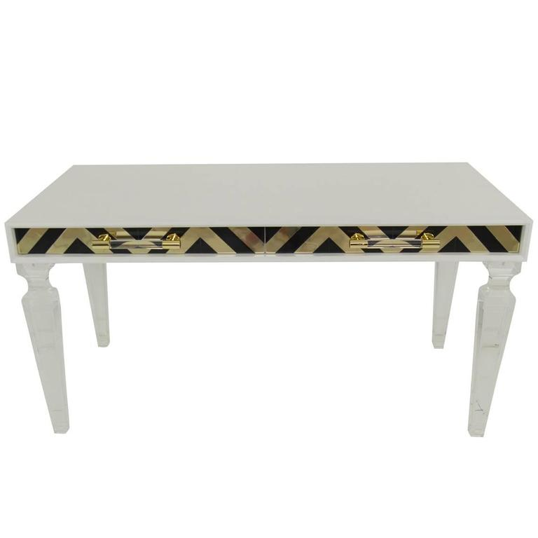 Modern Style Capri Desk in White with Black & Gold Detail and Lucite Legs For Sale
