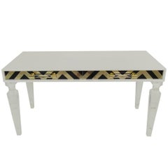Modern Style Capri Desk in White with Black & Gold Detail and Lucite Legs