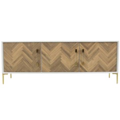 Herringbone Style Amalfi Credenza with White case and Walnut  with Lucite Pulls
