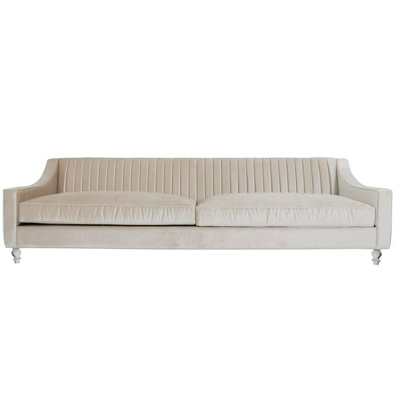 Modern Style Audrey Sofa in Long-Arm Tufted Beige Cashmere Velvet w/ Lucite Legs 1