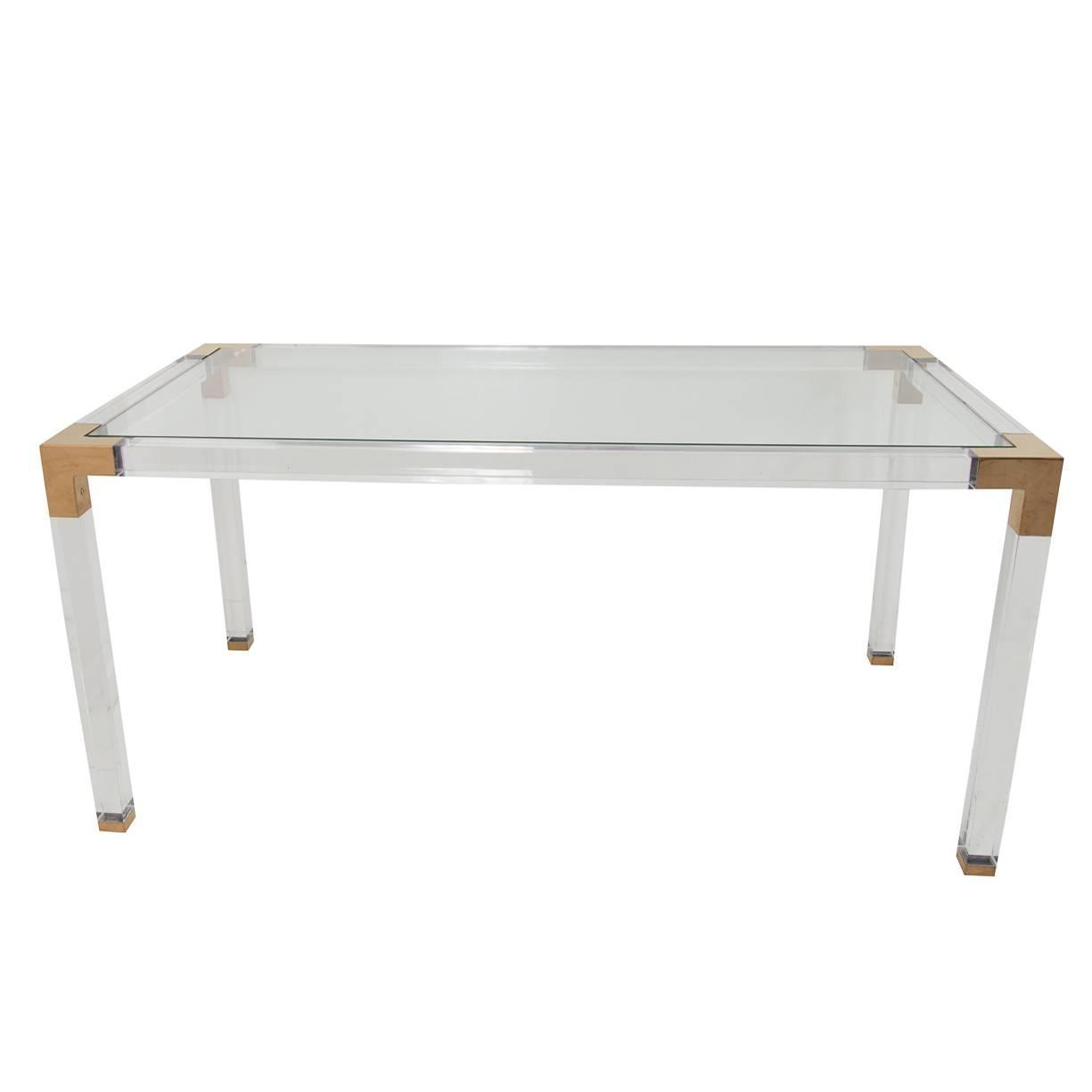 Lucite and brass desk at 1stdibs for Perspex desk