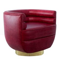 Color Lounge Armchair Genuine Leather and Brass