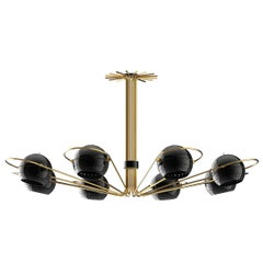 Black Ball Lights Chandelier Polished Brass and Steel