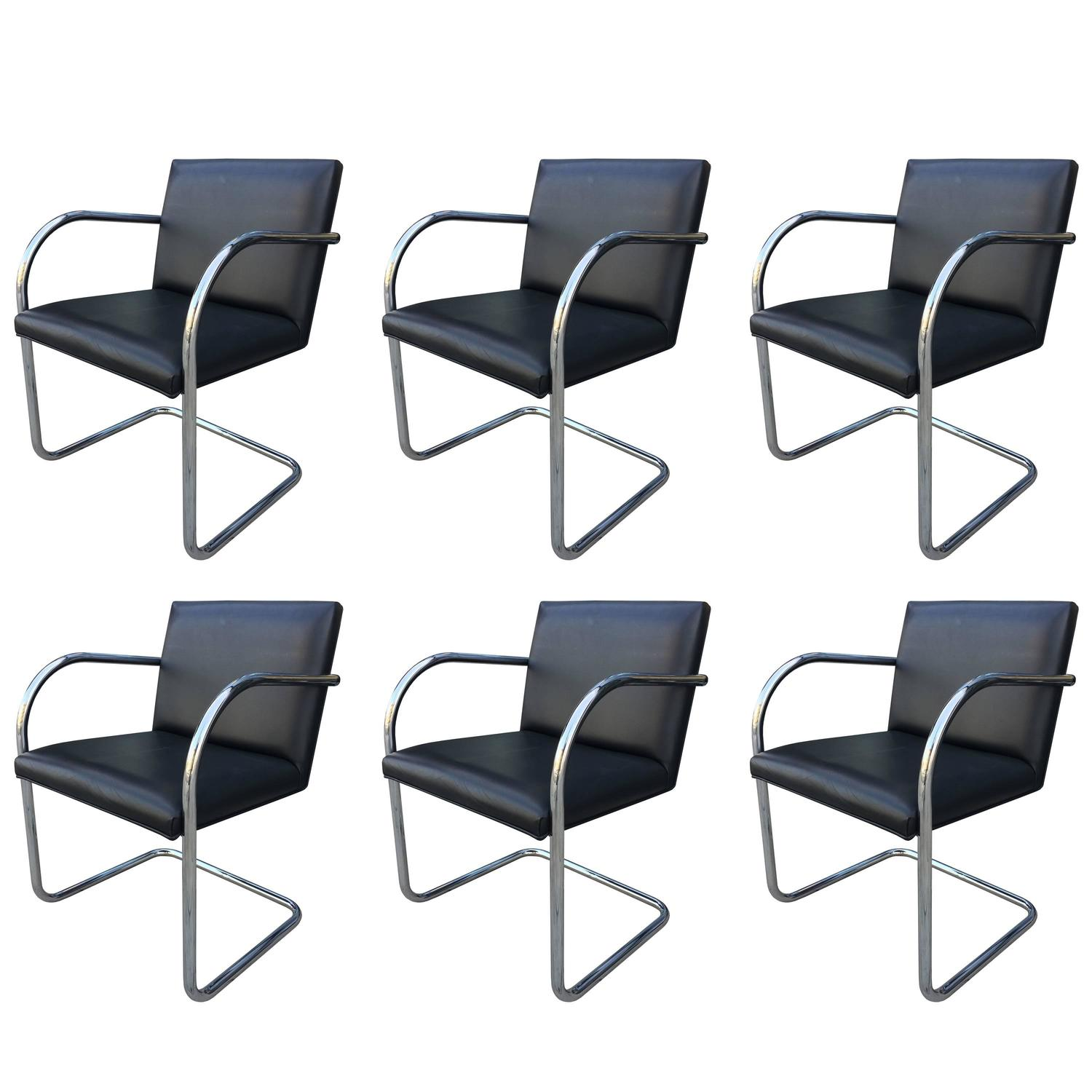 Set of Six Brno Chairs by Mies Van Der Rohe Manufactured by Gordon