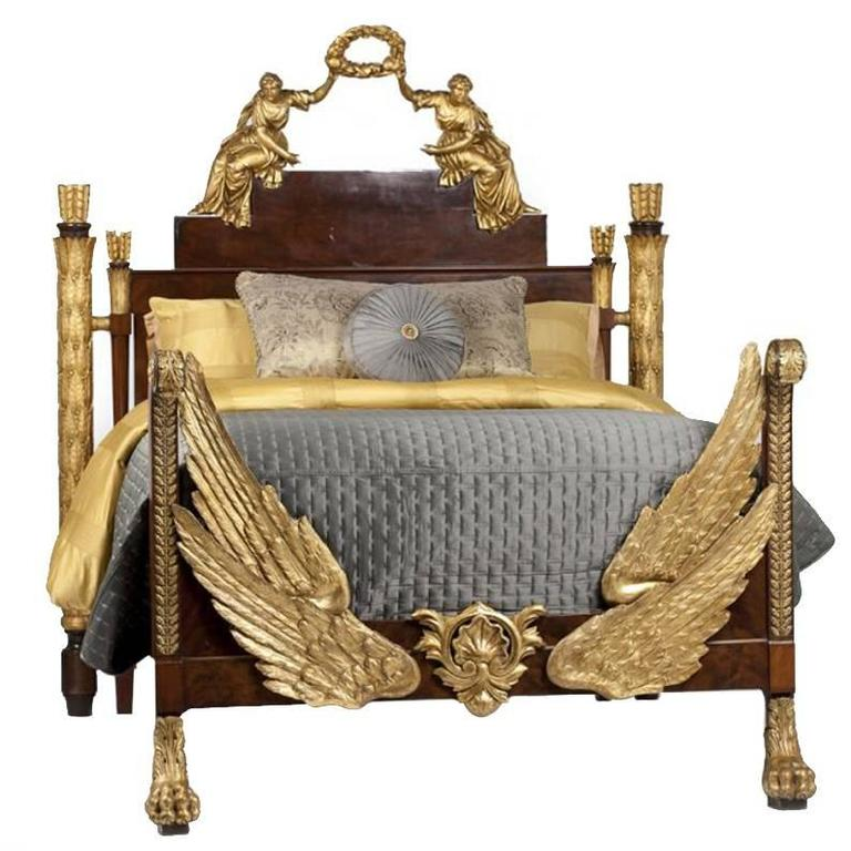 Possibly Russian Partial Gilt Bed With Angels 19th