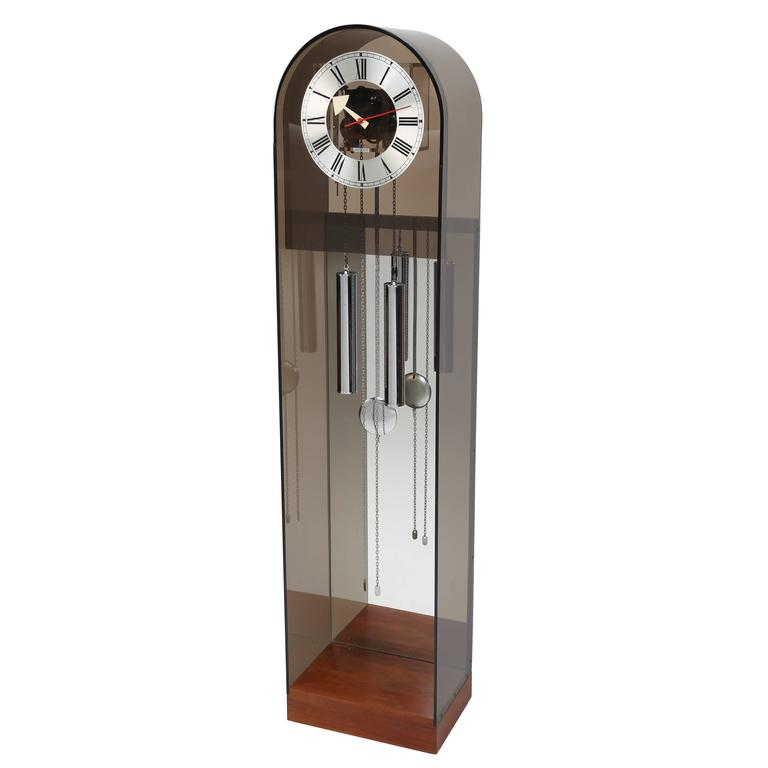 Howard Miller Smoked-Lucite Grandfather Clock, Circa 1970s For Sale