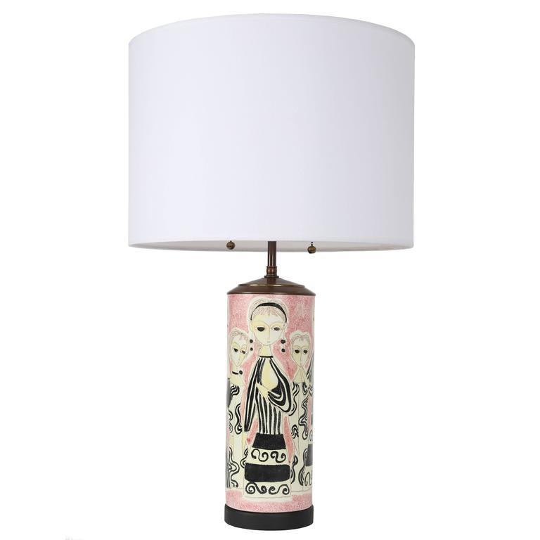 Party Dress Ceramic Table Lamp by Marcello Fantoni, Circa 1960s