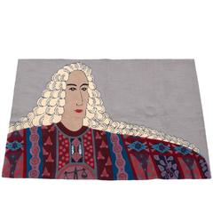 "Edward Fields ""Kabuki Libra"" Pop Art Rug or Wall Hanging"