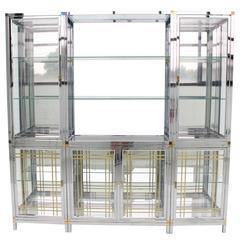 Spectacular Chrome Brass Glass Vitrine Cabinet Showcase